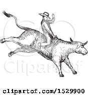 Clipart Of A Sketched Rodeo Cowboy On A Bucking Bull Royalty Free Vector Illustration