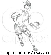 Clipart Of A Doodle Styled Female Basketball Player Dribbling Royalty Free Vector Illustration