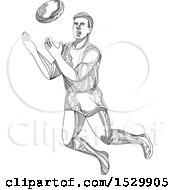 Sketched Aussie Rules Football Player Catching