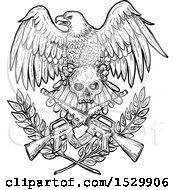 Clipart Of A Sketched Black And White Bald Eagle With A Skull Over Crossed Rifles And Laurel Branches Royalty Free Vector Illustration