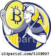 Clipart Of A Retro Crytocurrency Miner With A Bitcoin On His Shoulder And A Pickaxe Royalty Free Vector Illustration