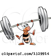 Poster, Art Print Of Red Ant Lifting A Heavy Barbell