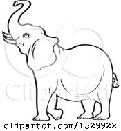 Clipart Of A Black And White Elephant Raising His Trunk Royalty Free Vector Illustration by Lal Perera