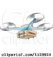 Clipart Of A Delivery Drone Flying With A Package Royalty Free Vector Illustration