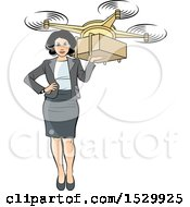 Clipart Of A Business Woman Holding A Delivery Drone With A Package Royalty Free Vector Illustration by Lal Perera