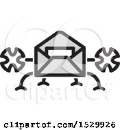 Clipart Of A Landing Delivery Envelope Drone Royalty Free Vector Illustration