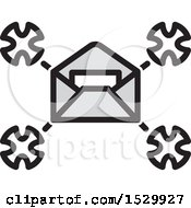 Clipart Of A Delivery Envelope Drone Royalty Free Vector Illustration