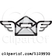 Clipart Of A Winged Envelope Flying Royalty Free Vector Illustration
