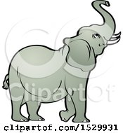 Clipart Of A Cute Elephant Raising His Trunk Royalty Free Vector Illustration by Lal Perera