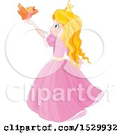 Clipart Of A Cute Blond Princess Holding Her Hands Up For A Bird To Land Royalty Free Vector Illustration