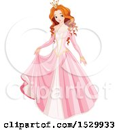 Clipart Of A Beautiful Red Haired Princess In A Pink Gown Royalty Free Vector Illustration