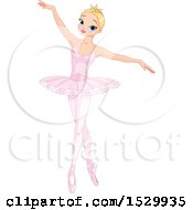 Clipart Of A Pretty Blond Princess Ballerina Dancing Royalty Free Vector Illustration