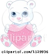 Poster, Art Print Of Cute Valentine Polar Bear Cub Holding A Love Heart