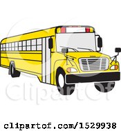 Clipart Of A Cartoon Yellow School Bus Royalty Free Vector Illustration
