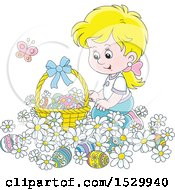 Happy Blond Caucasian Girl Kneeling In Daisy Flowers By An Easter Basket