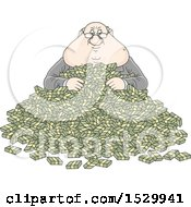 Fat Caucasian Business Man In A Pile Of Cash Money