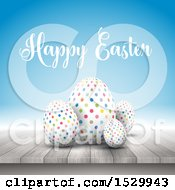 Happy Easter Greeting With 3d Polka Dot Eggs On A Wooden Surface Over Blue