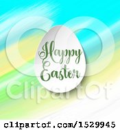 Clipart Of A Happy Easter Greeting With An Egg Over Watercolor Strokes Royalty Free Vector Illustration