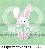 Happy Easter Greeting With A Bunny Rabbit On Green Dots