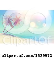 Poster, Art Print Of 3d Tropical Island Beach With Double Palm Trees