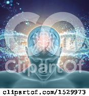 Clipart Of A 3d Man With Visible Brain Over A Background Of Dna Strands Royalty Free Illustration by KJ Pargeter