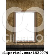 Clipart Of A 3d Blank Picture Frame Leaning Against A Wall With Vintage Wallpaper Royalty Free Illustration