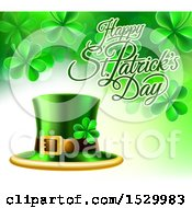 Clipart Of A Happy St Patricks Day Greeting With A Leprechaun Hat And Shamrocks Royalty Free Vector Illustration