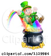 Clipart Of A St Patricks Day Leprechaun Riding A Rainbow To The Top Of A Pot Of Gold Royalty Free Vector Illustration
