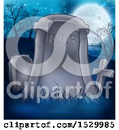 Clipart Of A RIP Tombstone Headstone In A Cemetery Royalty Free Vector Illustration