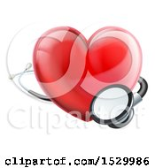 Clipart Of A 3d Medical Stethoscope Around A Red Love Heart Royalty Free Vector Illustration