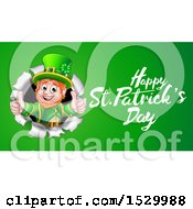 Clipart Of A Happy St Patricks Day Greeting By A Leprechaun Breaking Through A Wall On Green Royalty Free Vector Illustration by AtStockIllustration