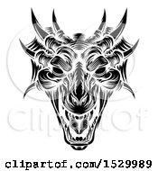 Poster, Art Print Of Dragon Head In Black And White Woodcut Style