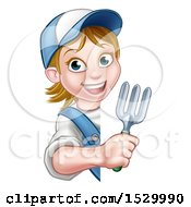 Cartoon Happy White Female Gardener Holding A Garden Fork Around A Sign