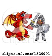 Clipart Of A Black Girl Knight And Red Dragon Royalty Free Vector Illustration by AtStockIllustration