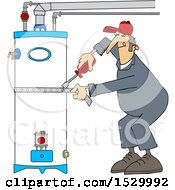 Male Plumber Tightening A Strap Around A Water Heater