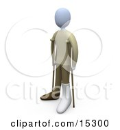 Person With Their Broken Foot In A Cast Using Crutches In A Hospital Clipart Illustration Image