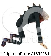Clipart Of A 3d Professional Parasite Crawling Royalty Free Illustration
