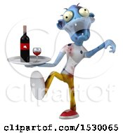 Clipart Of A 3d Blue Zombie Holding A Wine Tray On A White Background Royalty Free Illustration