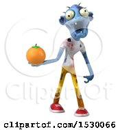 Clipart Of A 3d Blue Zombie Holding An Orange On A White Background Royalty Free Illustration