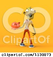 Poster, Art Print Of 3d Zombie Holding A Piggy Bank On A Yellow Background