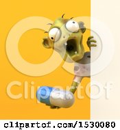 3d Zombie Holding A Pill On A Yellow Background