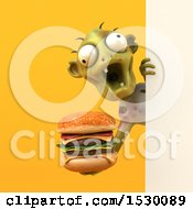 3d Zombie Holding A Burger On A Yellow Background