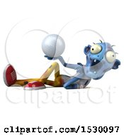 Clipart Of A 3d Blue Zombie Holding A Golf Ball On A White Background Royalty Free Illustration
