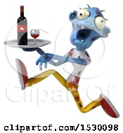 Clipart Of A 3d Blue Zombie Holding Wine On A White Background Royalty Free Illustration