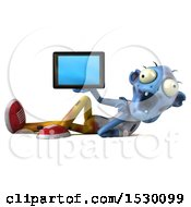 Clipart Of A 3d Blue Zombie Holding A Tablet On A White Background Royalty Free Illustration
