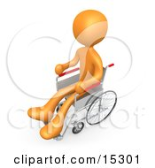 Orange Person In A Wheelchair In A Hospital Clipart Illustration Image
