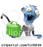 Clipart Of A 3d Blue Zombie Holding A  On A White Background Royalty Free Illustration