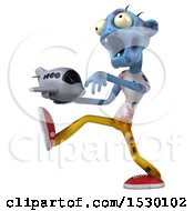 Poster, Art Print Of 3d Blue Zombie Holding A Plane On A White Background