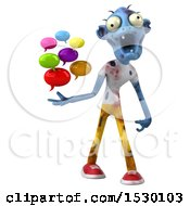 Clipart Of A 3d Blue Zombie Holding Messages On A White Background Royalty Free Illustration
