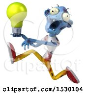 Clipart Of A 3d Blue Zombie Holding A Light Bulb On A White Background Royalty Free Illustration
